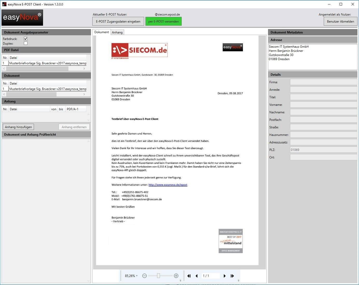 ePost Sperrfläche gepüft E-Postbrief Dokumentenvorschau