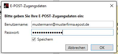 E-Post Zugnagsdaten easyNova Client